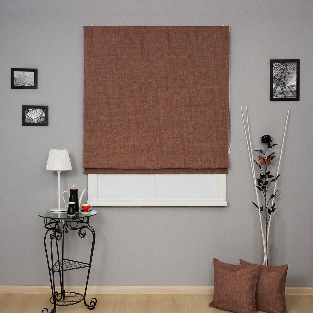 Красивая римская штора шоколадного цвета для спальни не пропускает свет