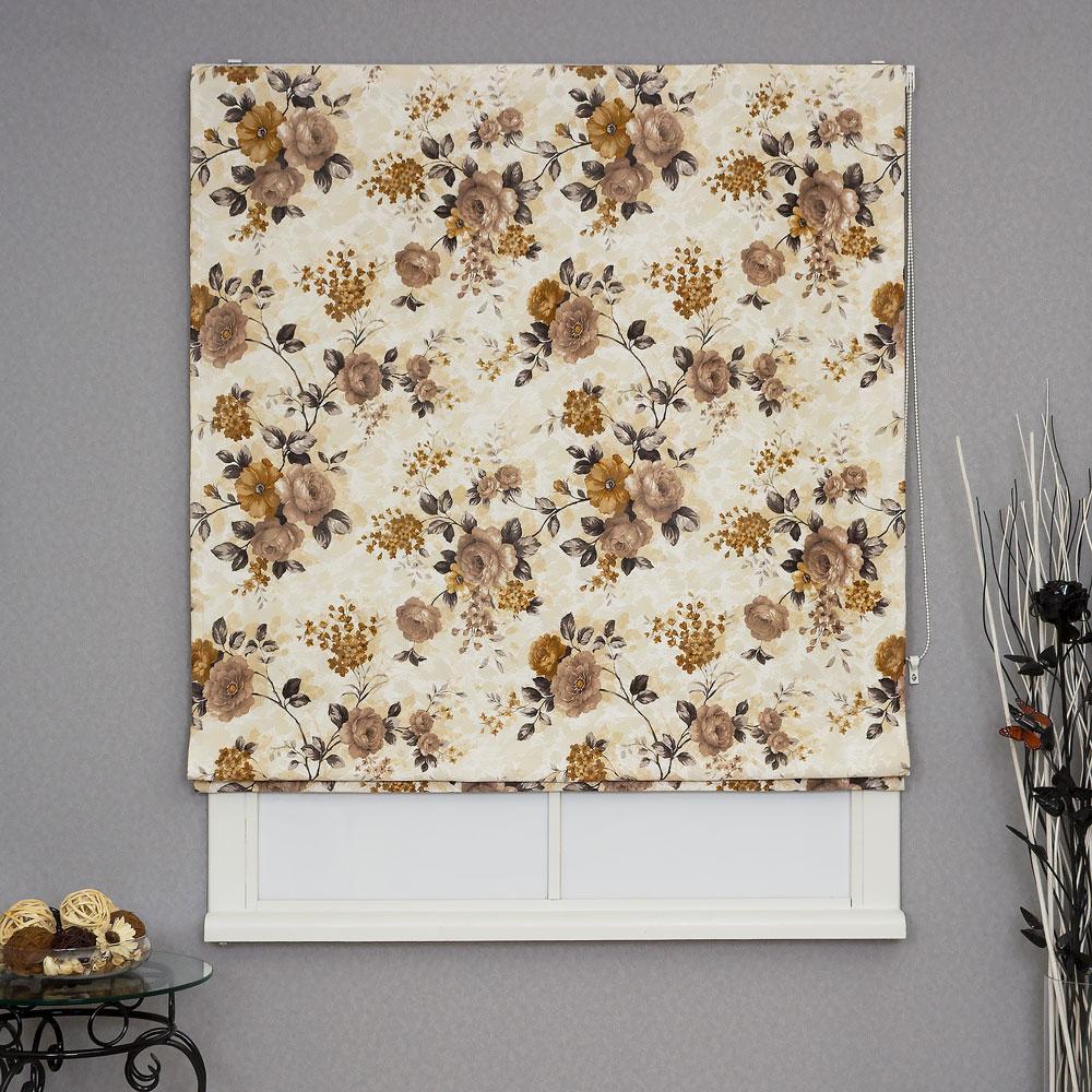 Римская штора с крупным цветочным рисунком для кухни