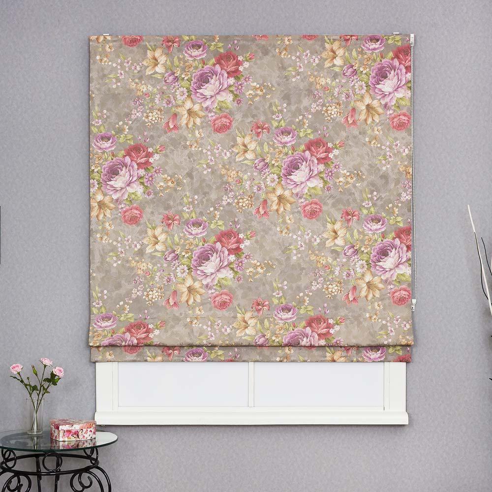 Римская штора с цветами на сером фоне для кухни