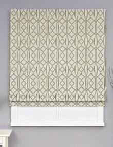 Римская штора из красивой ткани жаккард с рисунком на сером фоне.