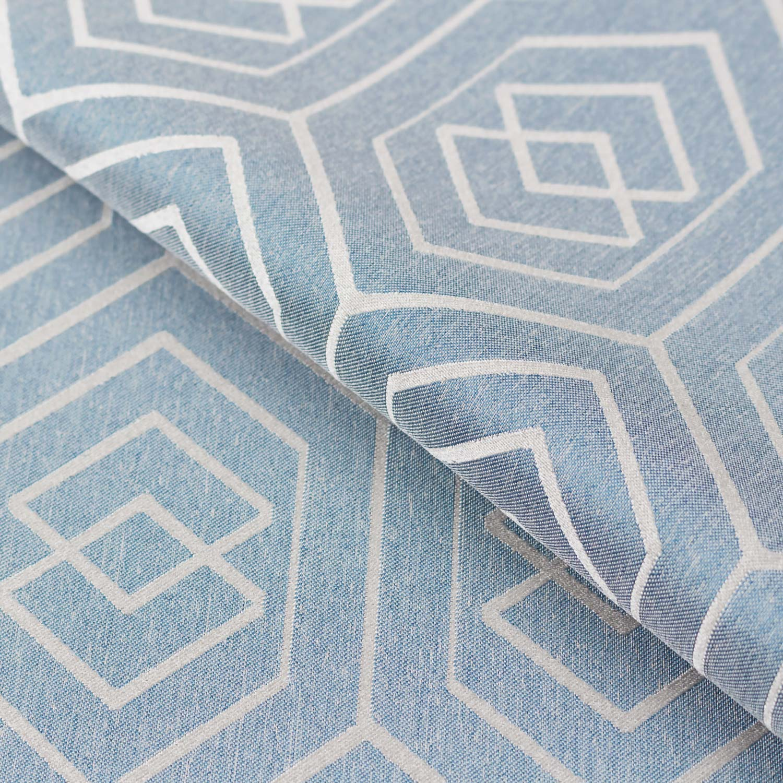 Ткань спокойного оттенка голубого цвета для штор с геометрическим рисунком