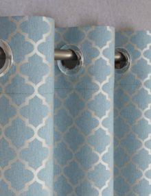 Шторы на люверсах из ткани бирюзового цвета с орнаментом