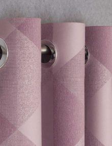 Шторы на люверсах розового цвета и геометрическим орнаментом