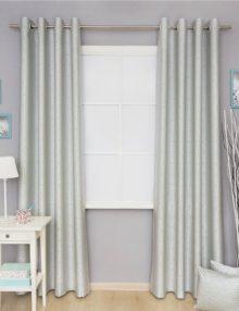 Шторы на люверсах из красивой ткани пастельного оттенка