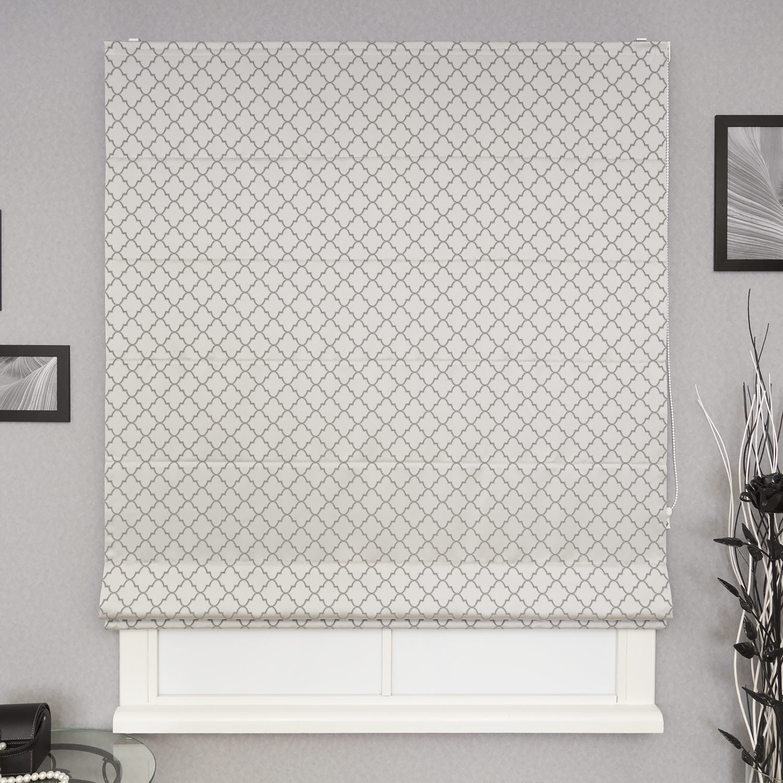 Римская штора Adele 21 c орнаментом на сером фоне. Римская штора серого цвета подойдет к любому интерьеру