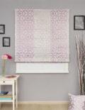 Римская штора пудренного цвета в интерьере