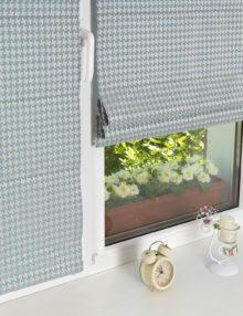 Мини римские шторы с установкой на окно без сверления.