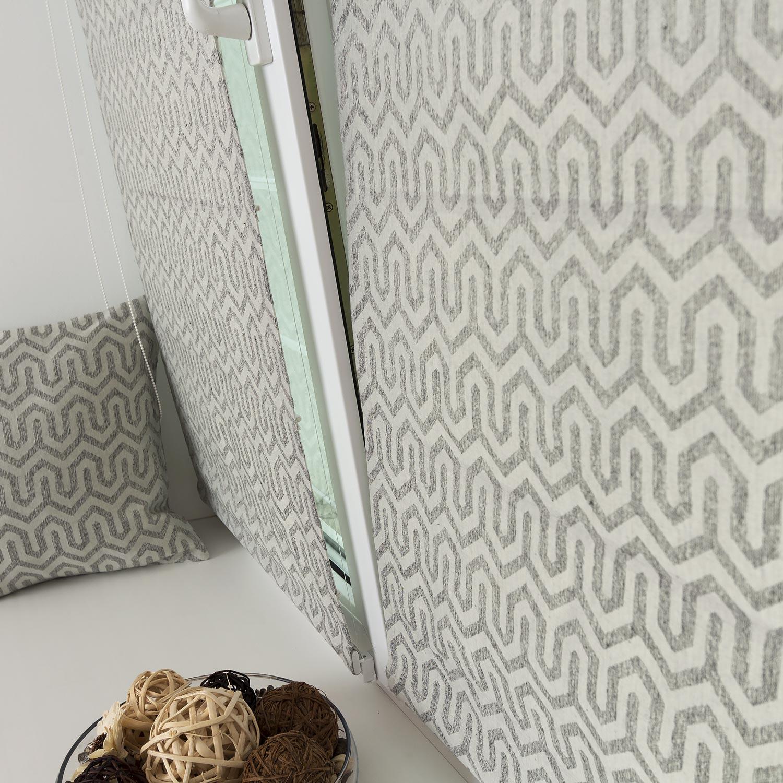 Мини римские шторы из ткани с орнаментом напоминающей натуральный лён. Шторы на окне без сверления.
