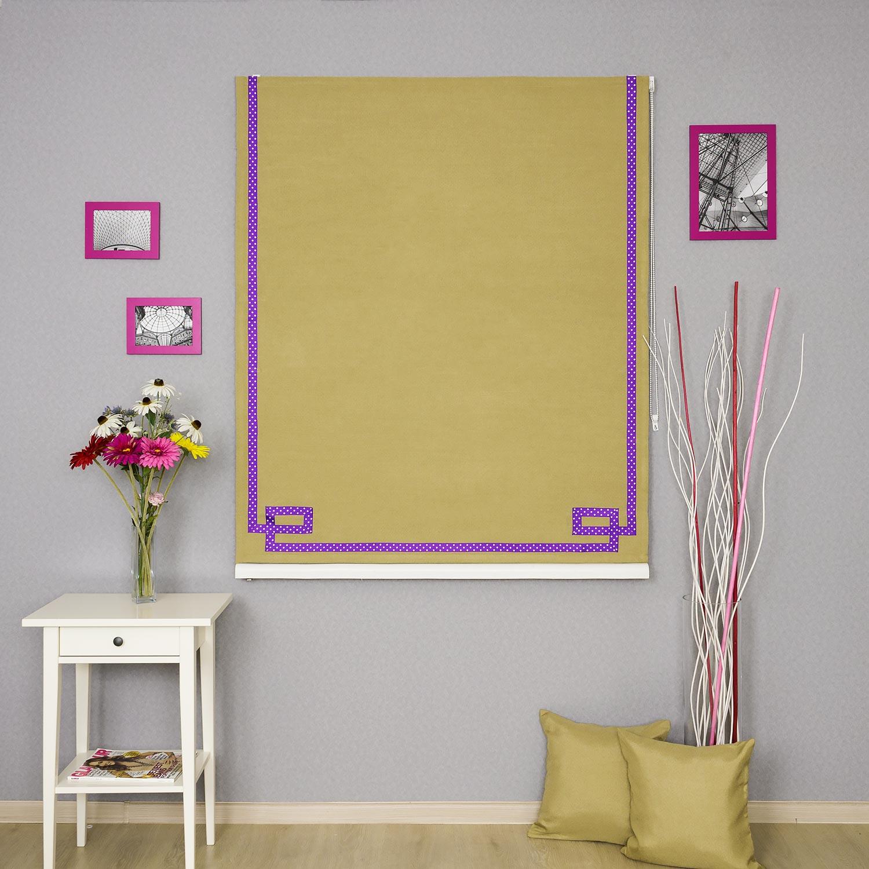 Римская штора оливкового цвета с декоративным кантом фиолетового цвета