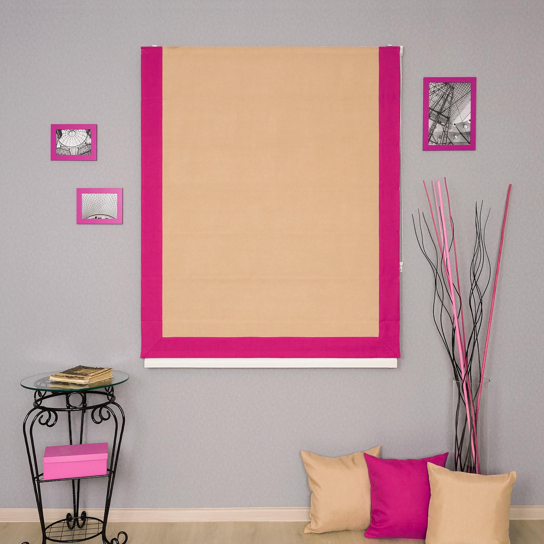 Красивая и яркая римская штора с кантом цвета фуксия