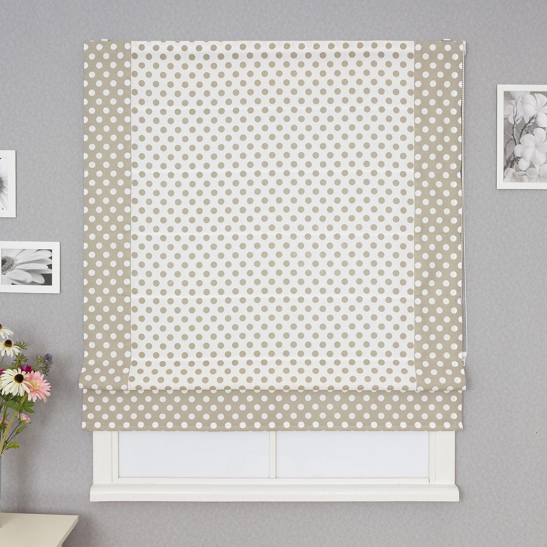 Красивая римская штора на пластиковом окне. Штора выполнена из ткани в горошек и имеет декоративный кант.