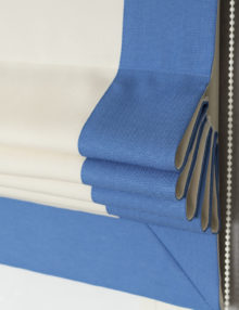 Римская штора из ткани Diana M2 белого/молочного цветас кантом