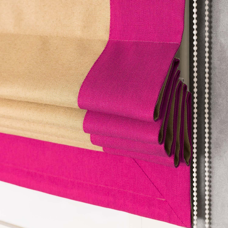 Яркая римская штора с кантом цвета фуксия