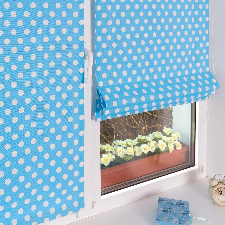 Красивые мини римские шторы из ткани в горошек голубого цвета на пластиковые окна без сверления