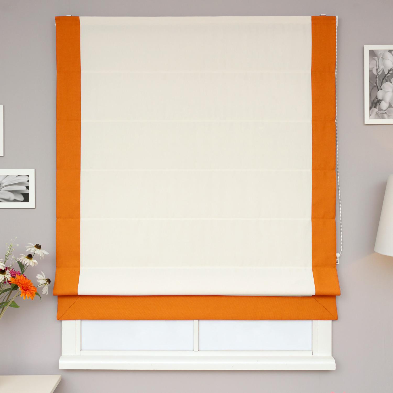 Римские шторы из рогожки белого цвета с оранжевым кантом