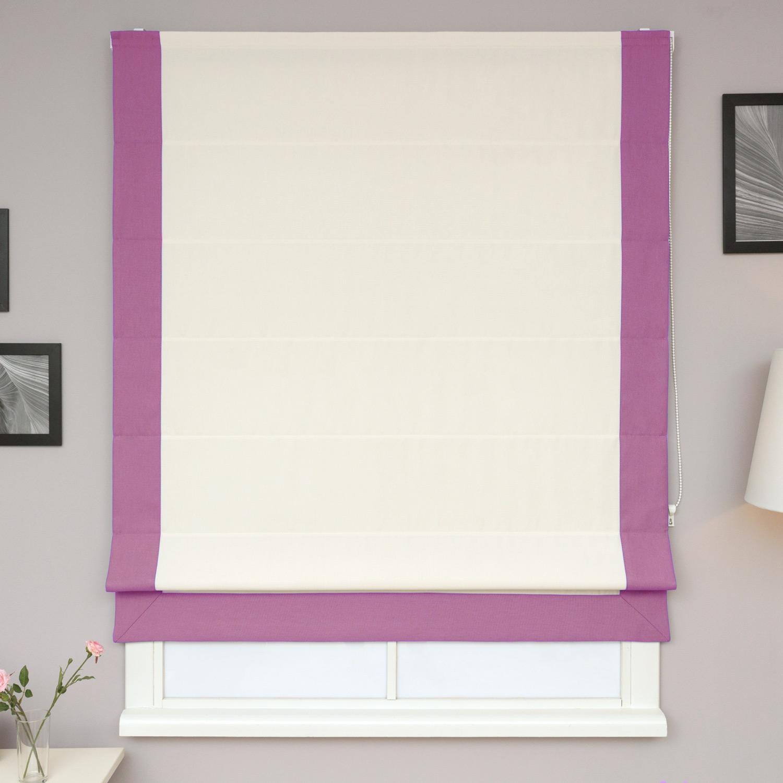 Римские шторы белого цвета из ткани рагожка с сиреневым кантом