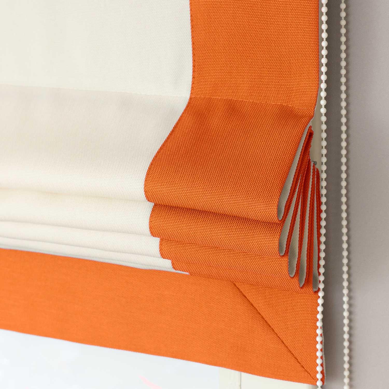 Римские шторы белого цвета с рыжим кантом