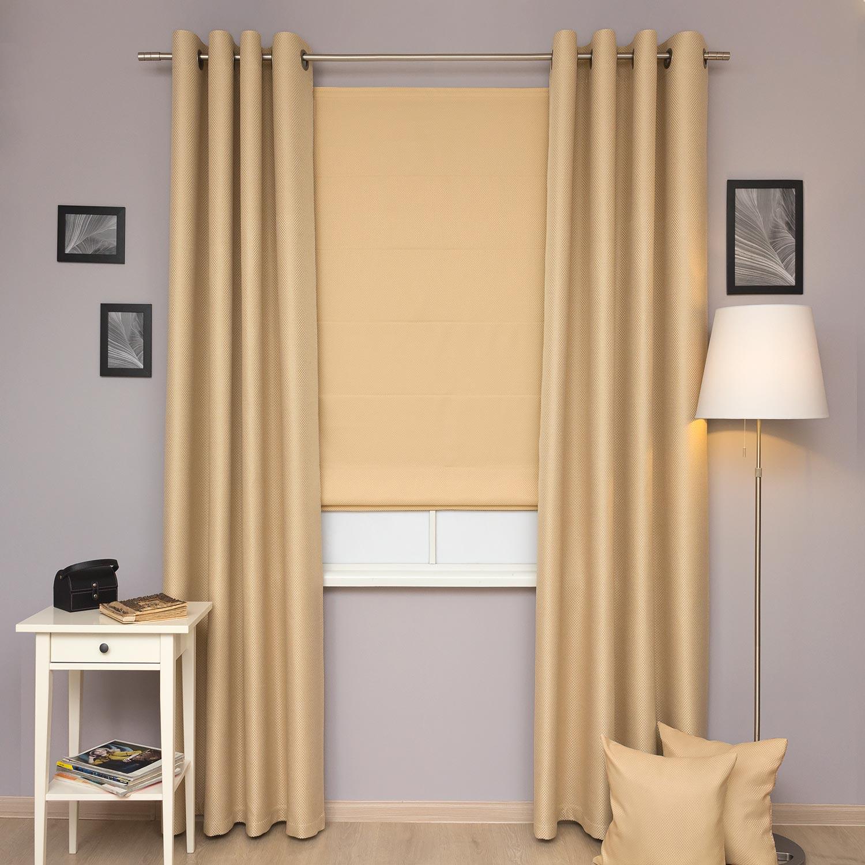 Комплект шторы из ткани блэкаут песочного цвета