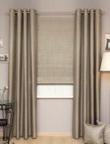 Комплект роскошных штор из ткани бронзового цвета с синей вышивкой