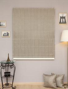 Римские шторы из красивой и роскошной ткани золотого и синего цвета