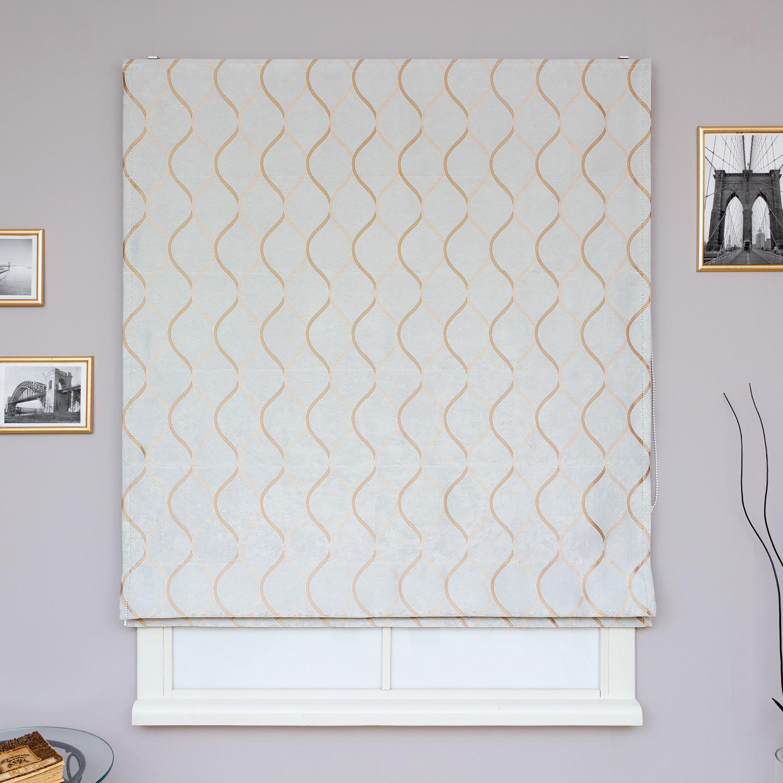 Красивые римские шторы ручной работы из ткани с золотым орнаментом на светло сером фоне