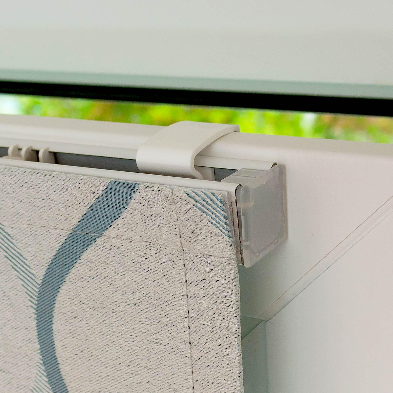Мини римские шторы голубых оттенков на пластиковые окна с установкой без сверления
