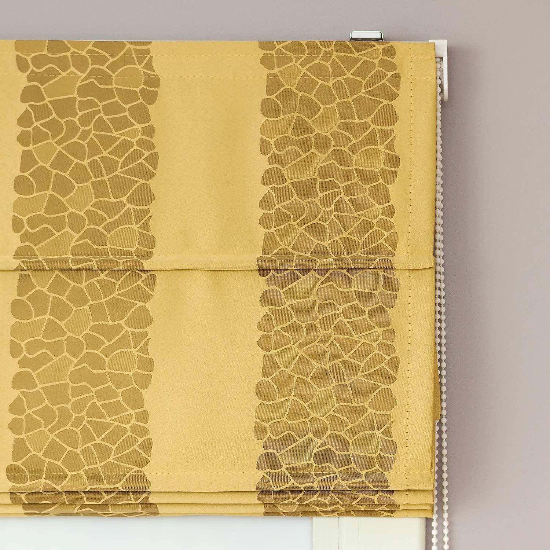 Римские шторы в полоску из ткани желтого цвета