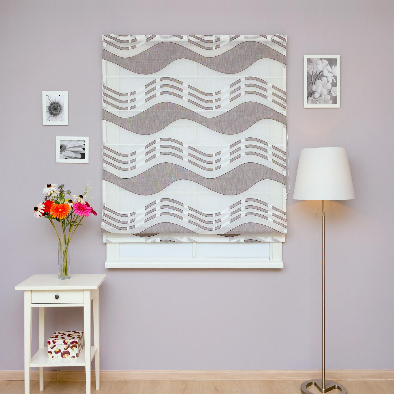 Красивые римские шторы для кухни из легкой полупрозрачной ткани с крупным рисунком