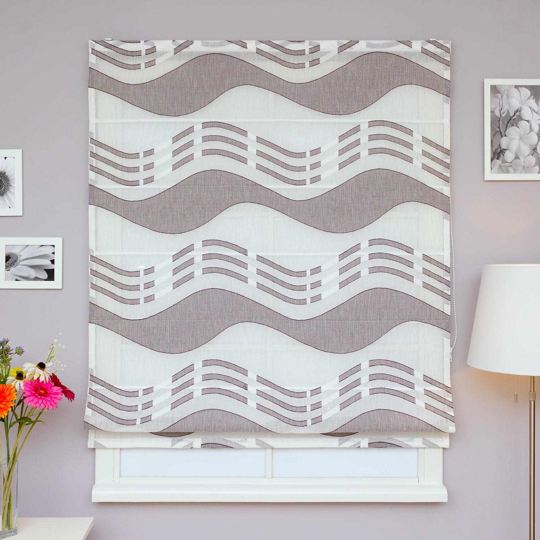 Римская штора из легкой полупрозрачной ткани с крупным рисунком коричневого цвета