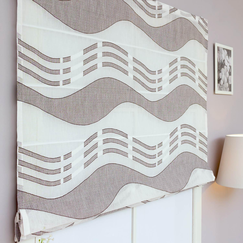 Римские шторы из тюля с рисунком