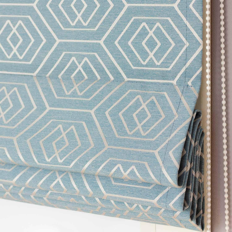 Римские шторы бирюзового голубого цвета