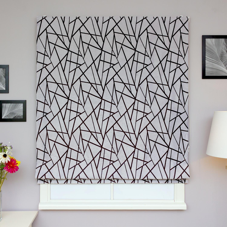 Красивые римские шторы ручной работы из ткани блэкаут и абстрактным рисунком