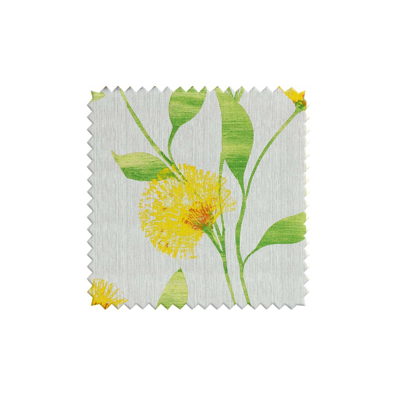 Образец ткани серого цвета с одуванчиками желтого цвета