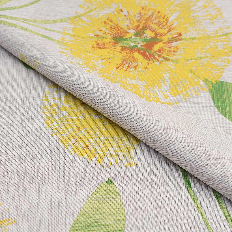 Портьерная ткань для штор с цветочным рисунком желтого цвета