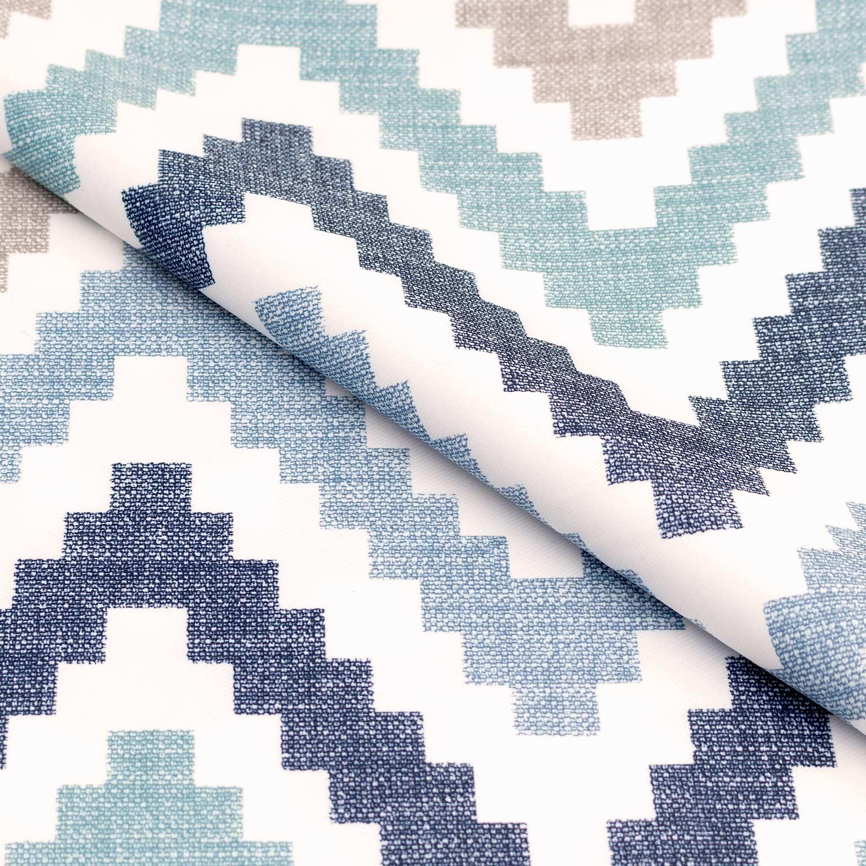 Ткань для штор с рисунком зигзаг голубого цвета