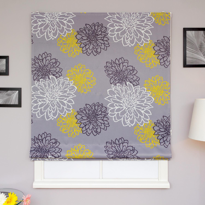 Римские шторы из ткани серого цвета с цветами желтого и черного цвета