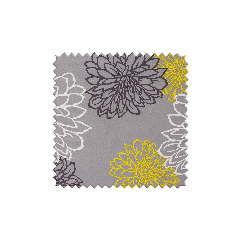 Ткань для штор серого цвета с цветочным рисунком