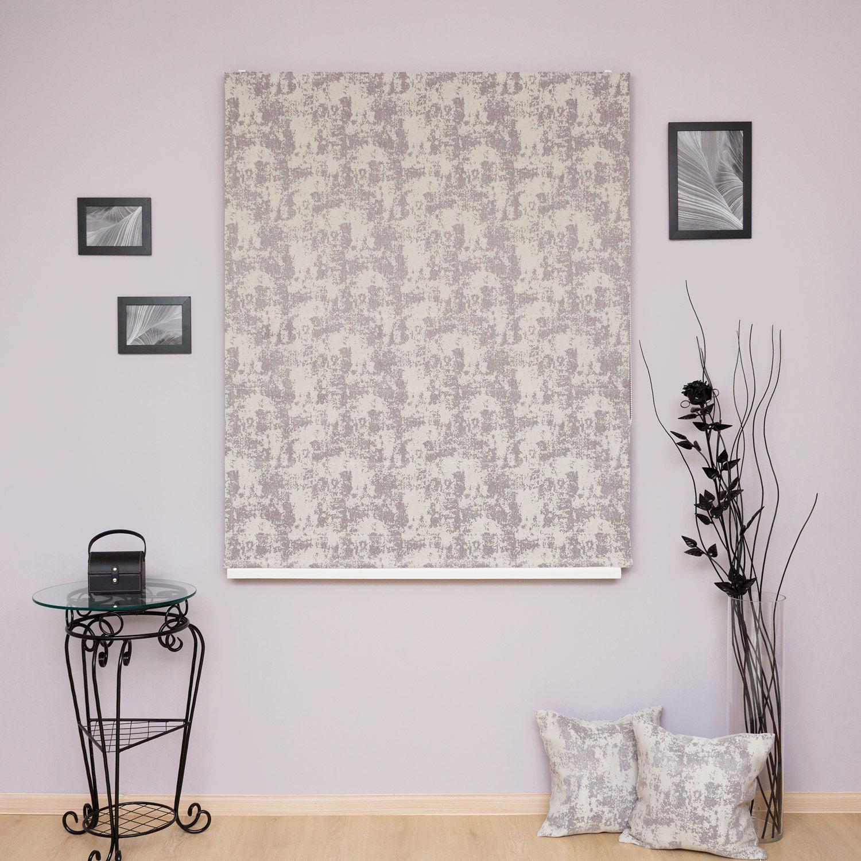 Римские шторы серого цвета из ткани жакард