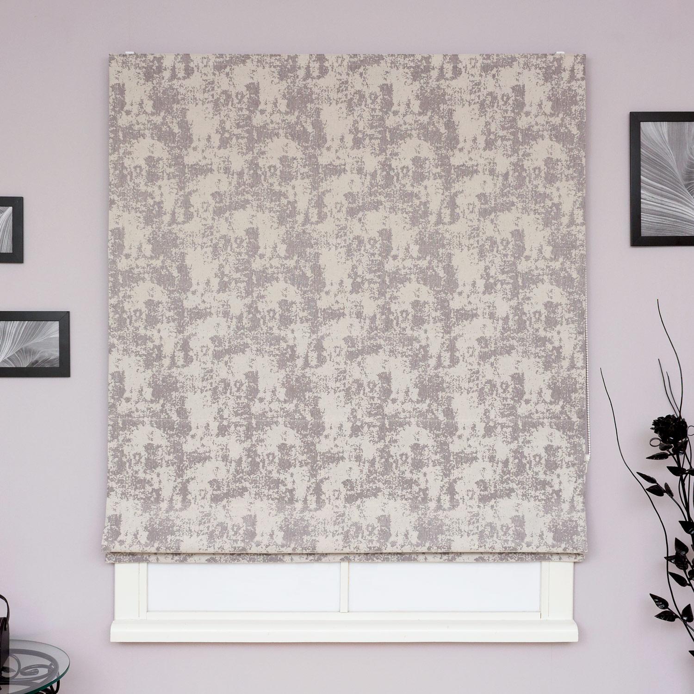 Римские шторы на окна из ткани под штукатурку серого цвета