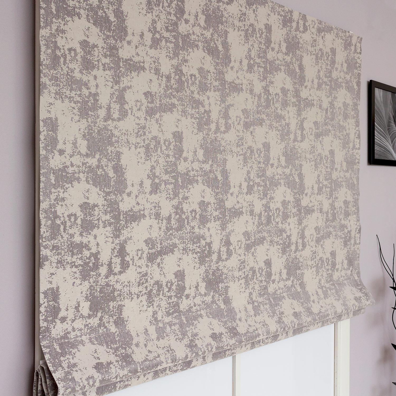 Римские шторы из ткани с фактурой штукатурки серого цвета
