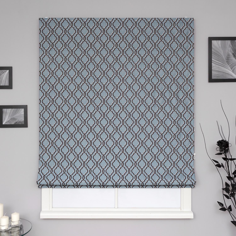 Прекрасные римские шторы с орнаментом арабеска из ткани жаккард голубого и коричневого цвета