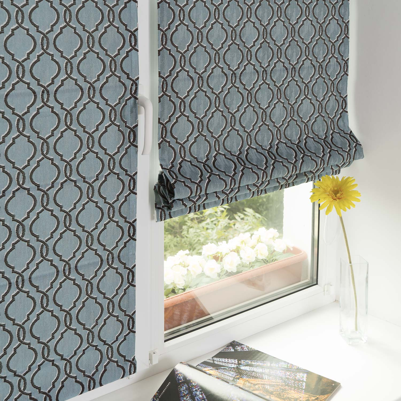 Мини римские шторы на пластиковые окна без сверления из ткани с орнаментом голубого и коричневого цвета